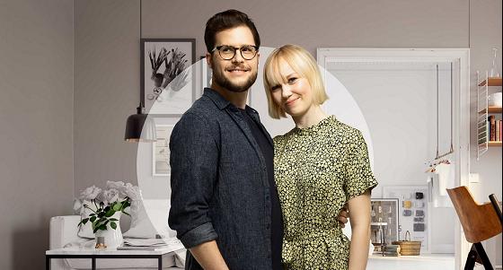 Mies ja nainen asunnossa, kuvituskuva.