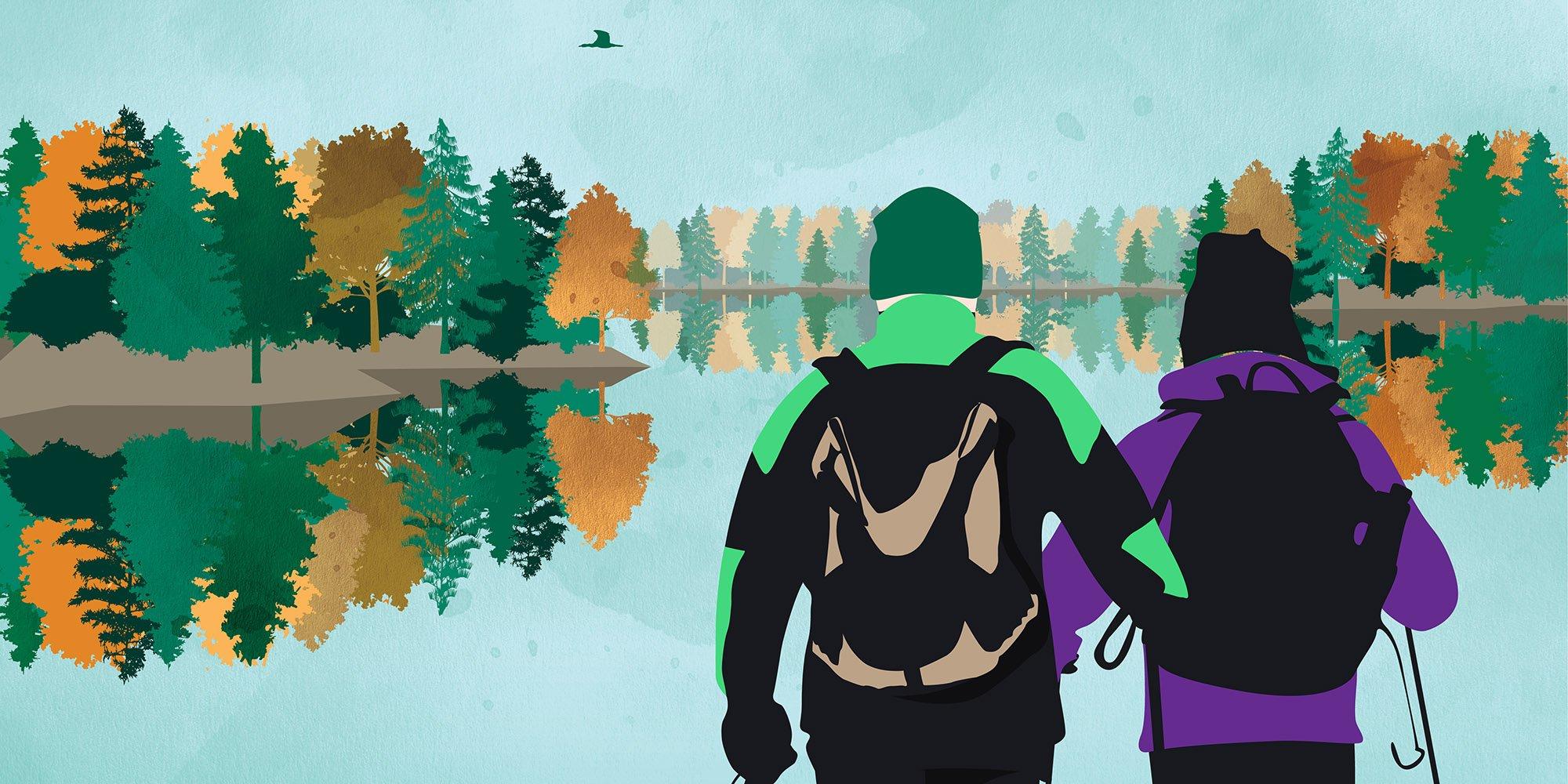 Syksyinen piirroskuva ulkoilevasta pariskunnasta, joka katsoo syksyistä järvimaisemaa