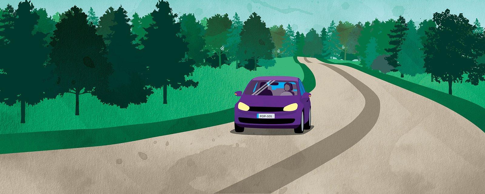 Auto maantiellä, kuvituskuva.