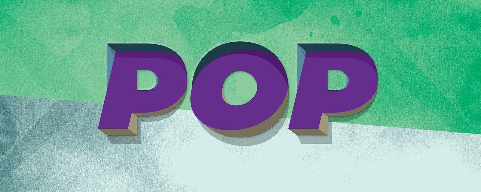 POP-teksti valko-vihreällä taustalla