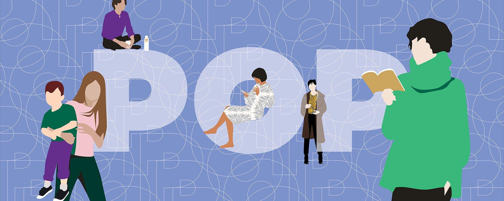 POP-logo ja ihmiset, kuvituskuva.