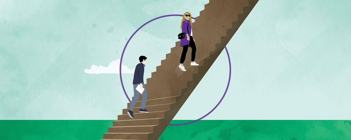 Kuvituskuva portaat ja kaksi ihmistä.