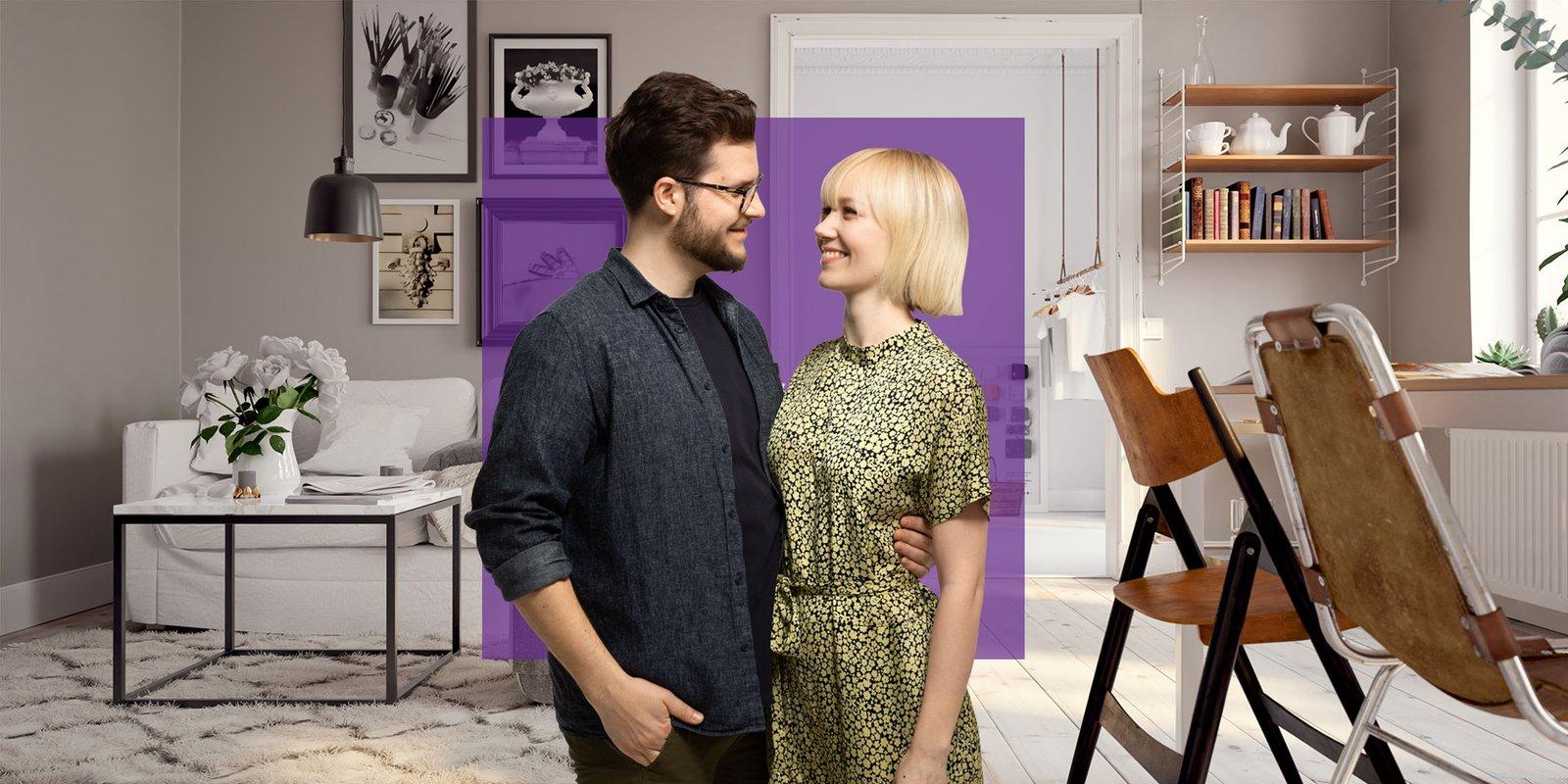 Kuvituskuva, nuori pari uudessa kodissa