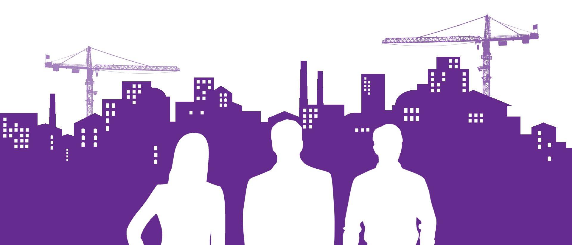 Siluettipiirros kaupungista. Kolme ihmistä seisoo kuvan etualalla.