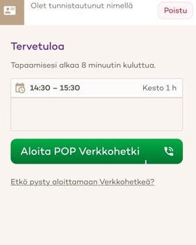 Kuva POP Verkkohetken odotushuoneesta