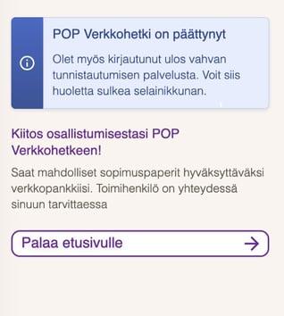 POP Verkkohetken lopetusikkuna